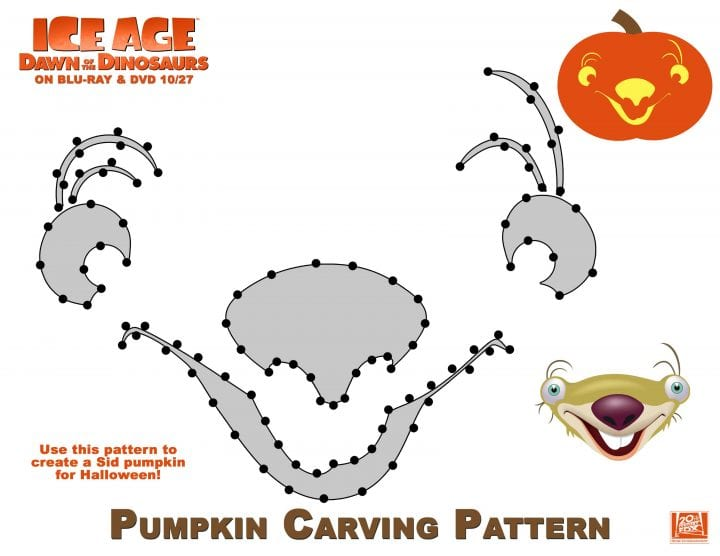 Ice Age Pumpkin Stencils and Scrat Costume
