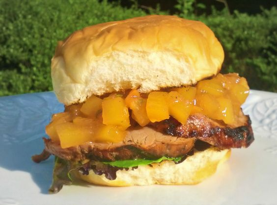 Teriyaki Pork with Mango Peach Chutney Sandwich on King's Hawaiian Bread