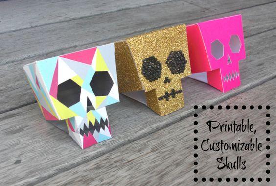 Printable Customizable Skulls for Halloween Dia De Los muertos Printable Skull