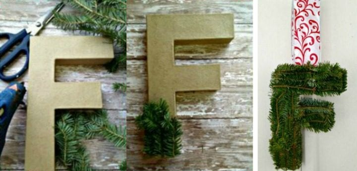 DIY Fresh Pine Monogram Letter Wreath