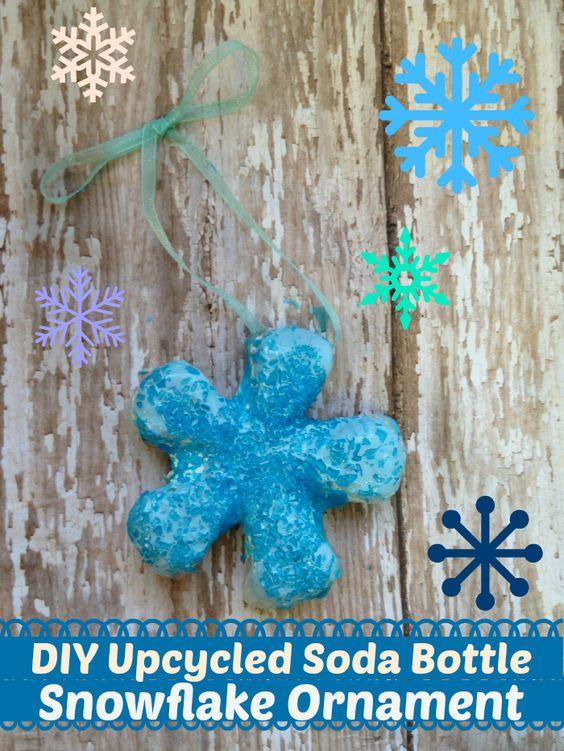 DIY Upcycled Soda Bottle Snowflake Ornament