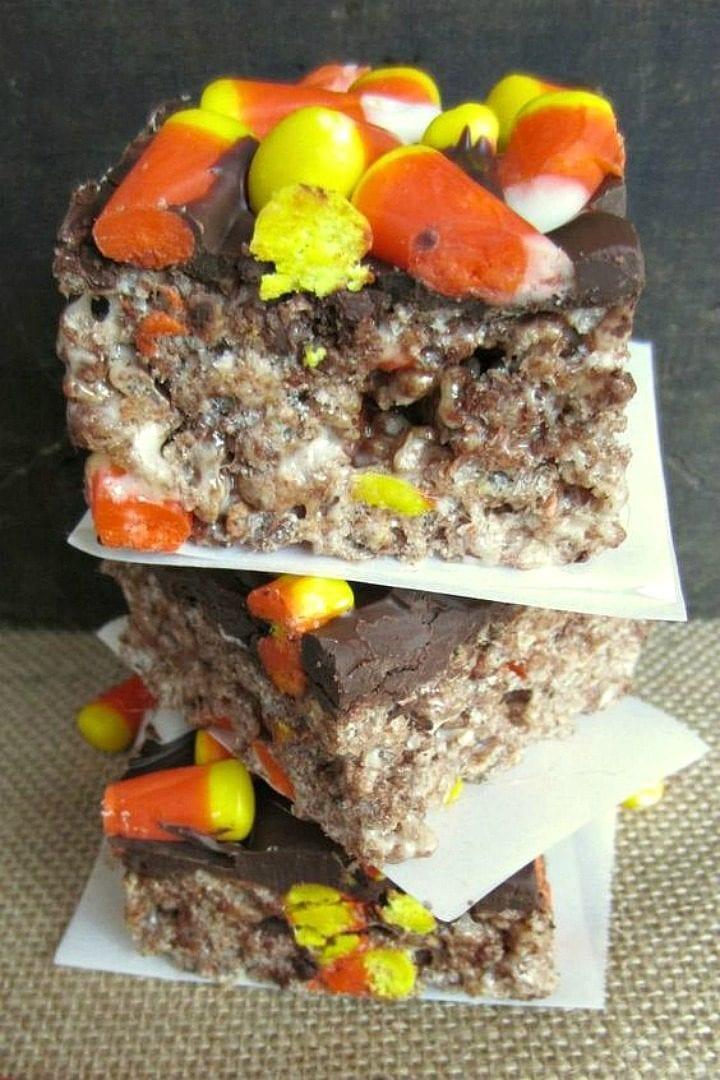 Chocolate Candy Corn Rice Krispies Treats