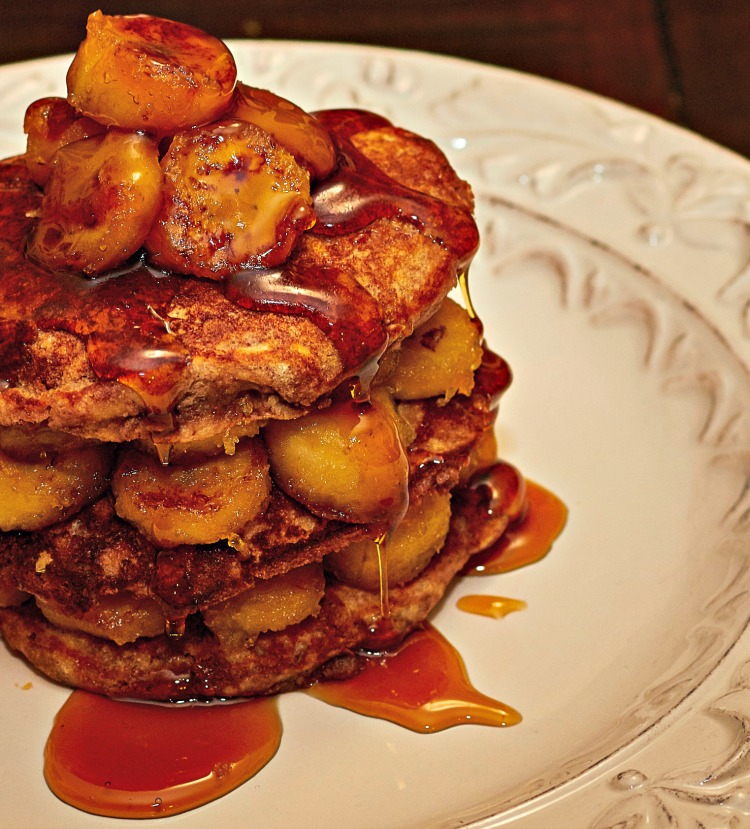 Feast your eyes on this absolute tower of banana Nutella pancakes.