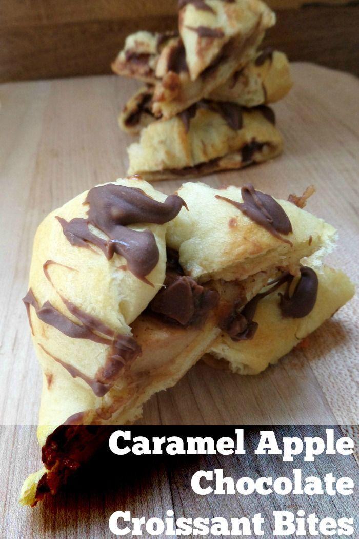 Caramel Apple Chocolate Croissant Bites