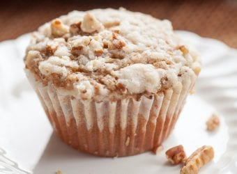 Cinnamon Cream Banana Nut Muffins with Cinnamon Crumble Topping