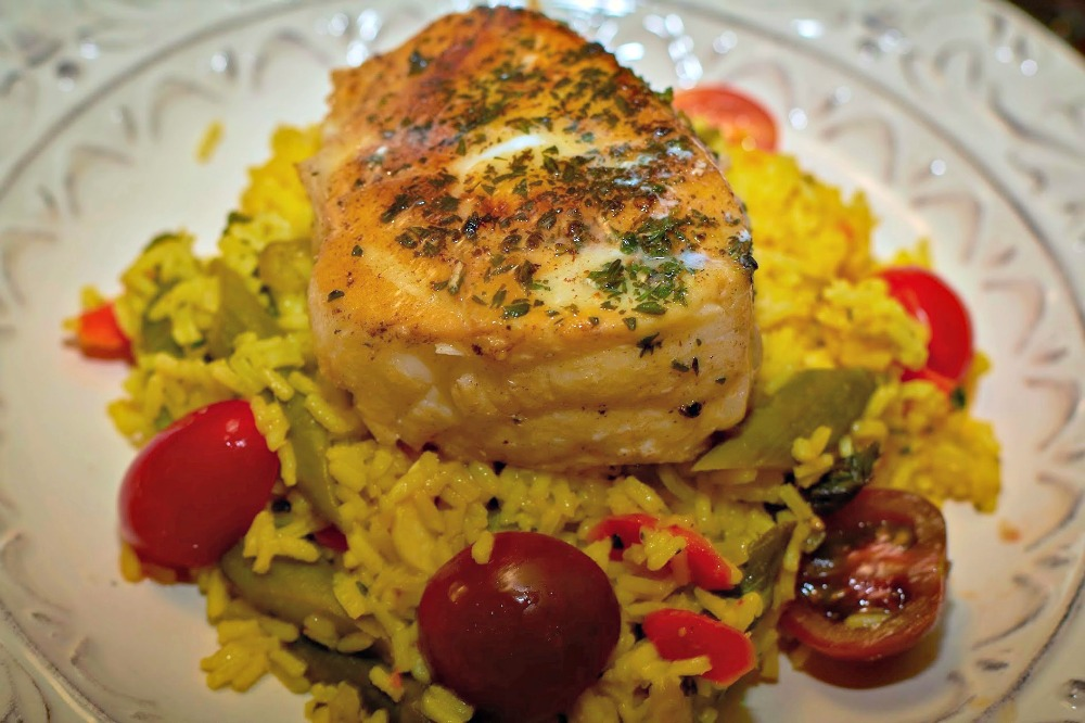 Herb Crusted Halibut with Saffron Rice 1