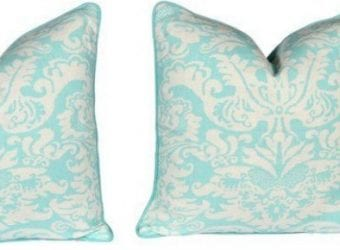 Tropical Accents for Your Home from One Kings Lane Turquoise Damask Pattern Pillows $284