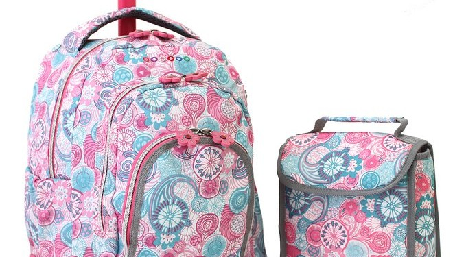 Back to School- Best Selling Backpacks for Girls J World New York Lollipop Kids Rolling Backpack with Lunch