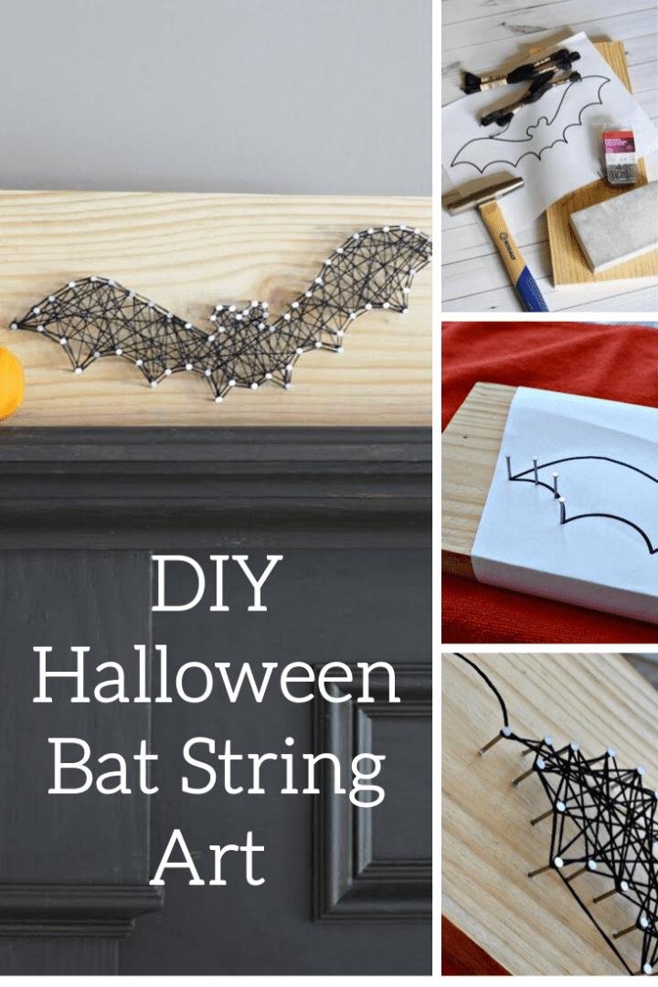 DIY Halloween Bat String Art Craft Tutorial