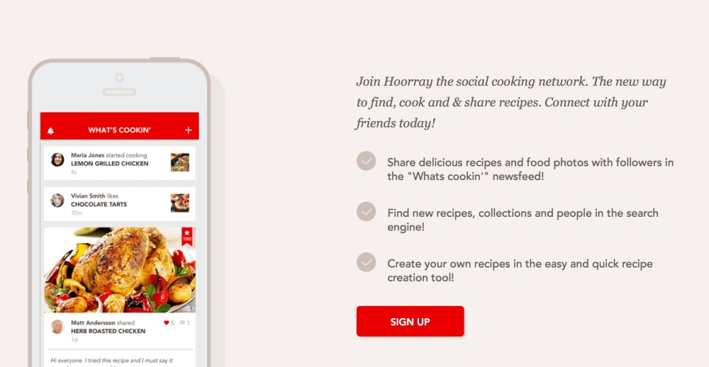 Hoorray - The Social Cooking Network