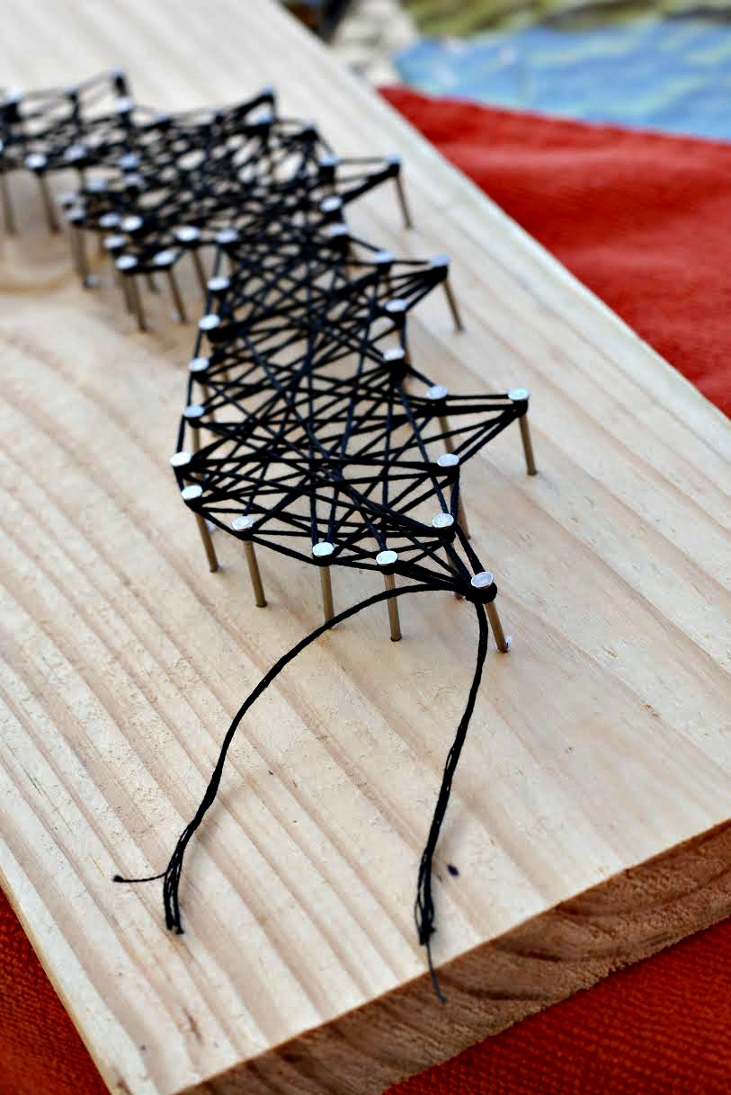 Halloween Bat String Craft 6