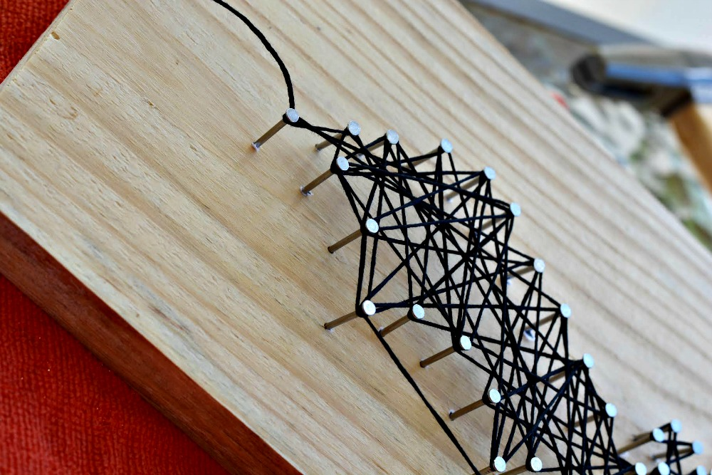 Halloween Bat String Craft 7