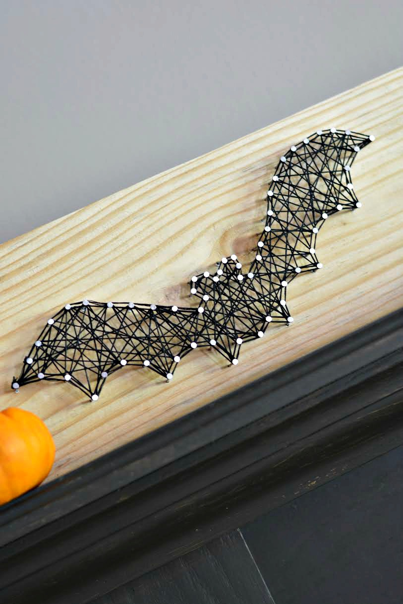 Halloween Bat String Craft 9