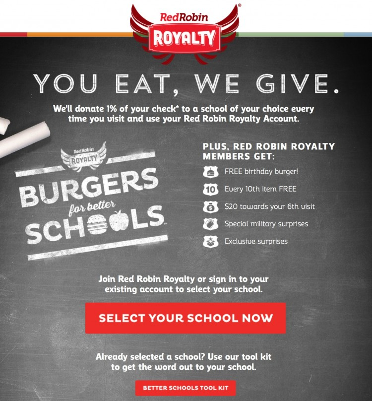 Red Robin Royalty Burgers for Schools Program