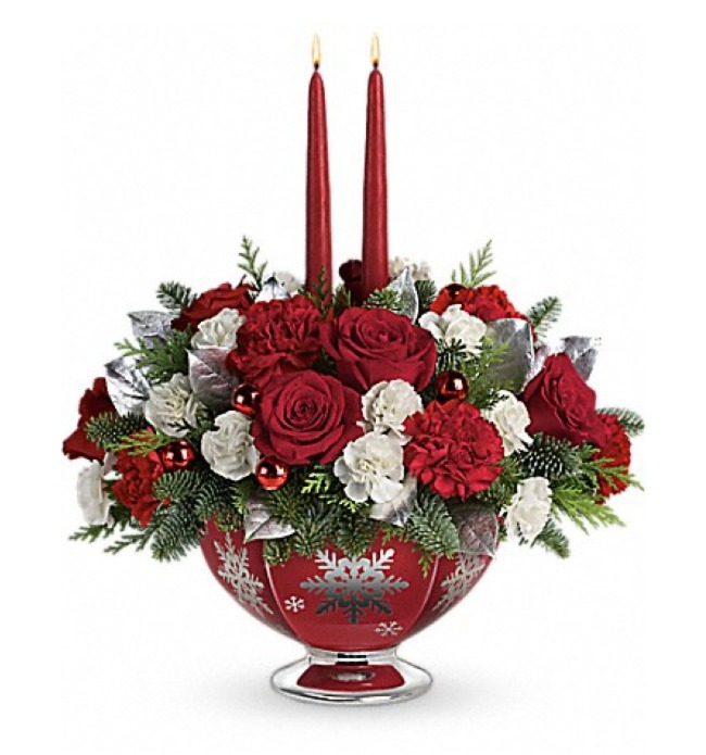 Teleflora Silver And Joy Centerpiece with Reusable Vase #SendCheer