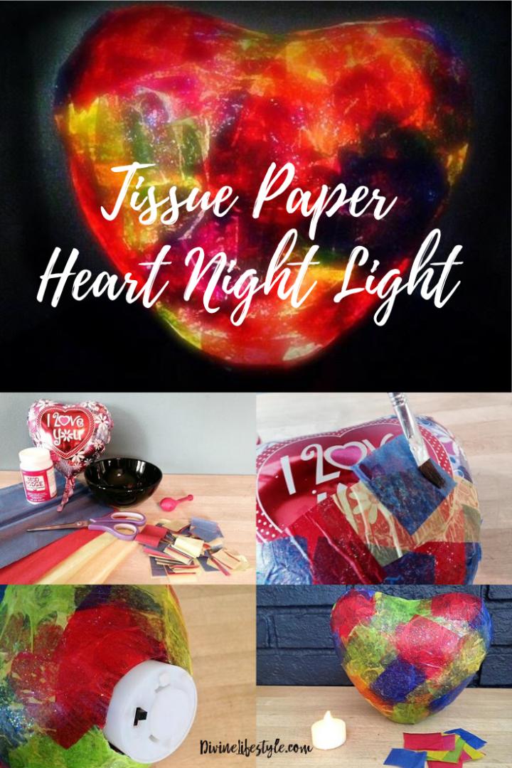 DIY Heart Craft Tissue Paper Night Light