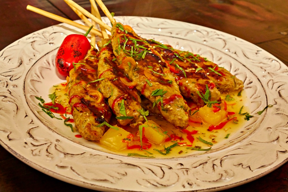 Pineapple Chicken Satay Appetizer Recipe Plated