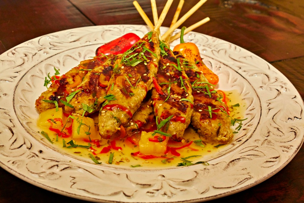 Pineapple Chicken Satay Appetizer Recipe Plated 2