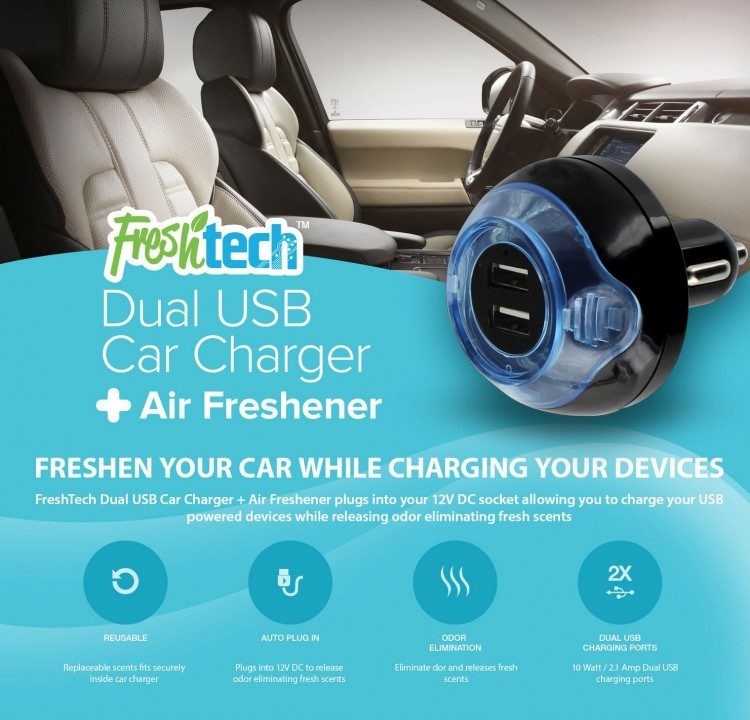 FreshTech SINGLE and DUAL USB Car Charger Air Freshener