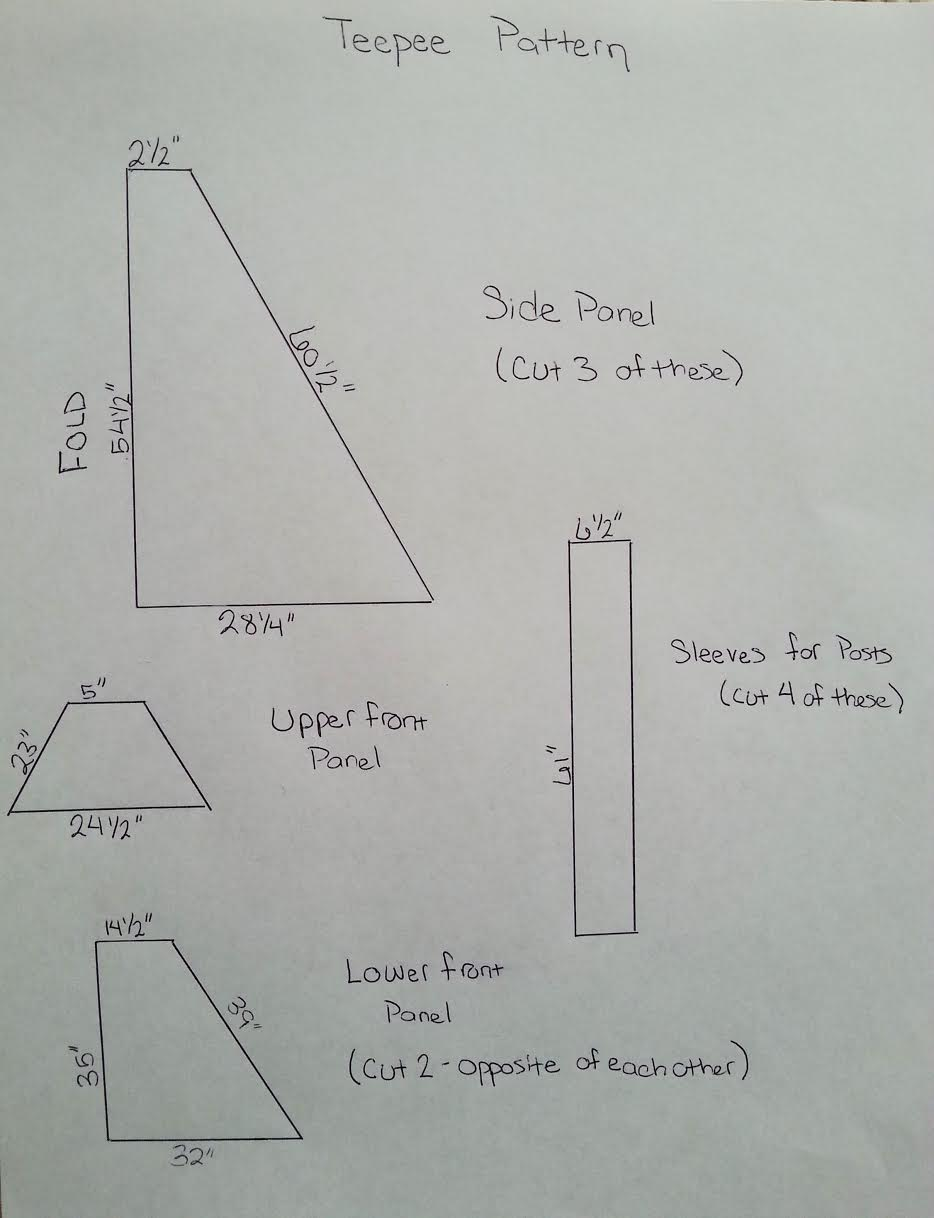 DIY Kids Teepee Tent Tutorial Pattern