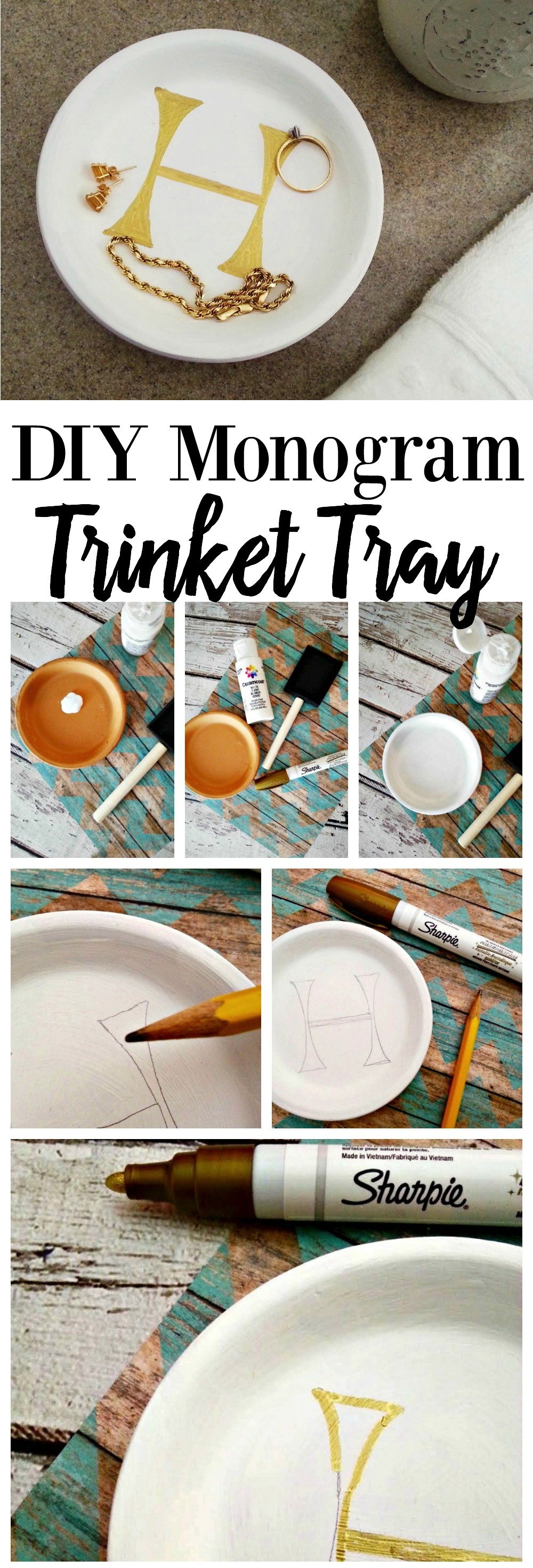 DIY Monogram Trinket Tray