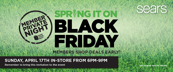 """Sears """"Spring It On Black Friday"""" Member Private Night Sale"""