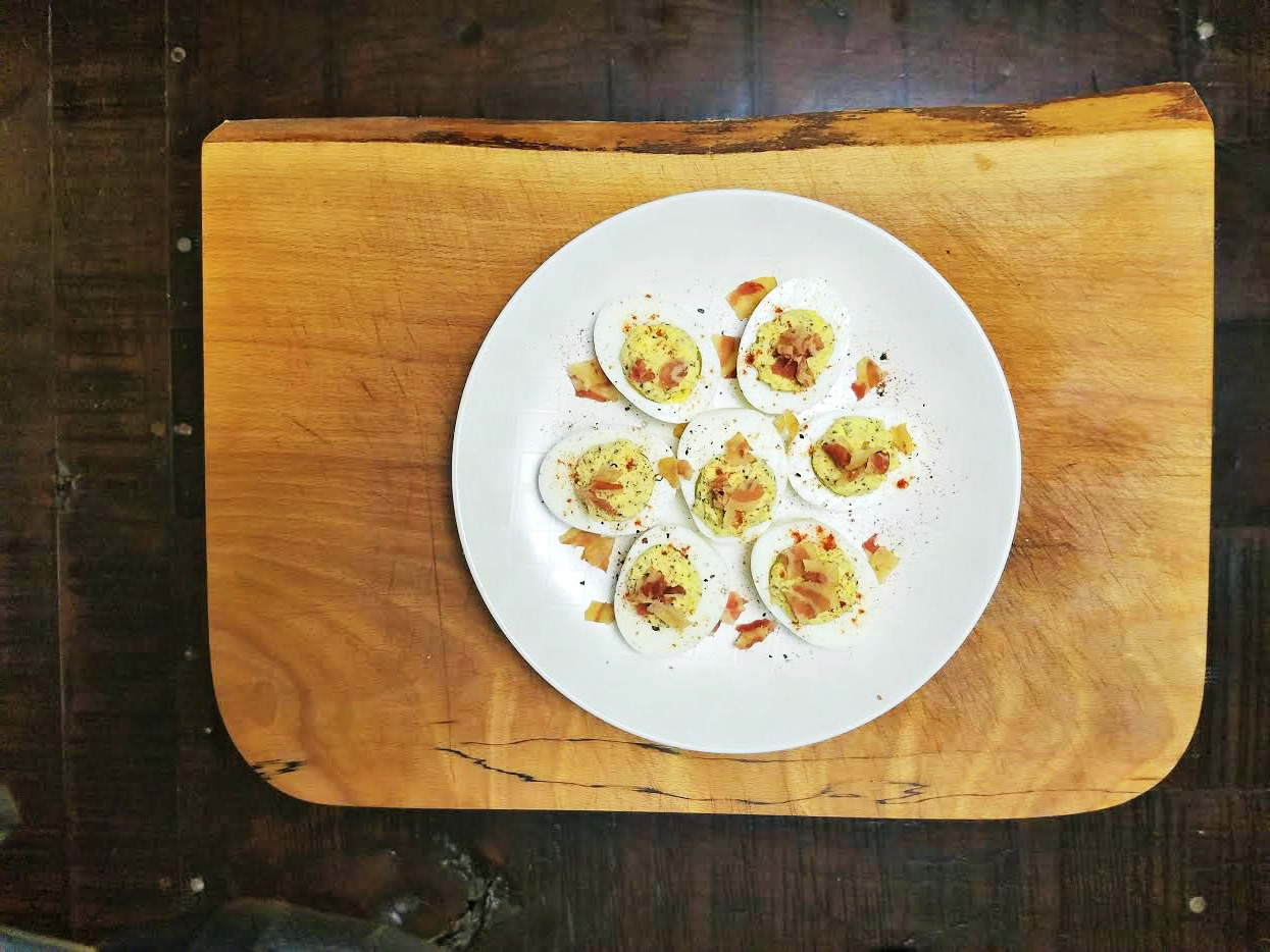Spicy Deviled Eggs with Crisp Pancetta Recipe