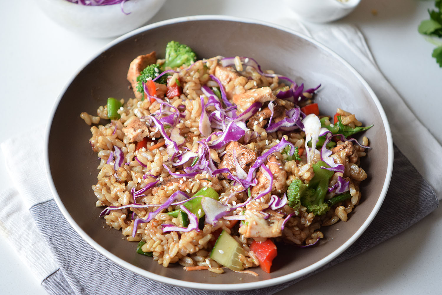 Rainbow Chicken Fried Rice Recipe