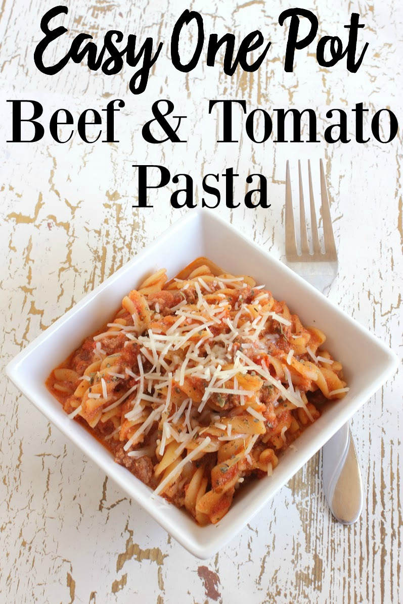 Easy One Pot Beef Tomato Pasta made with Alessi Foods