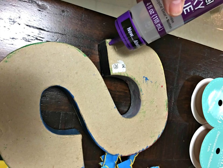 DIY Scrap Ribbon Monogram Initial Craft Waverly Inspirations