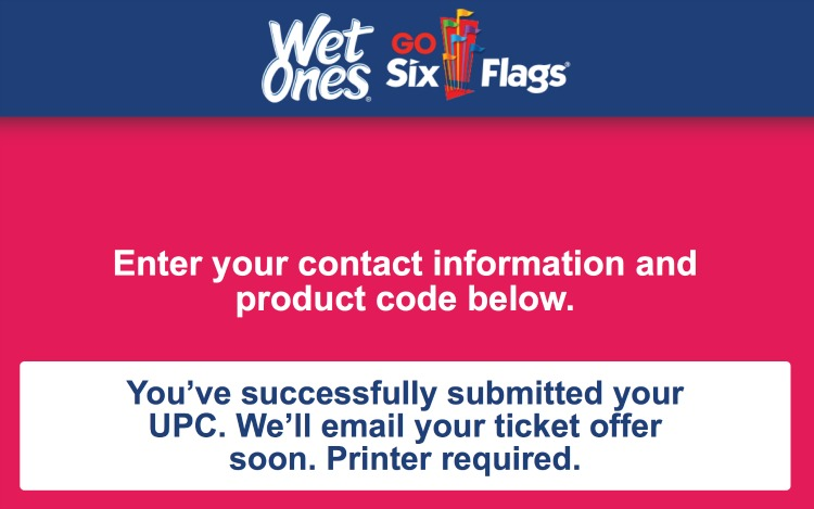 Six Flags Kids Ticket Offer from Wet Ones