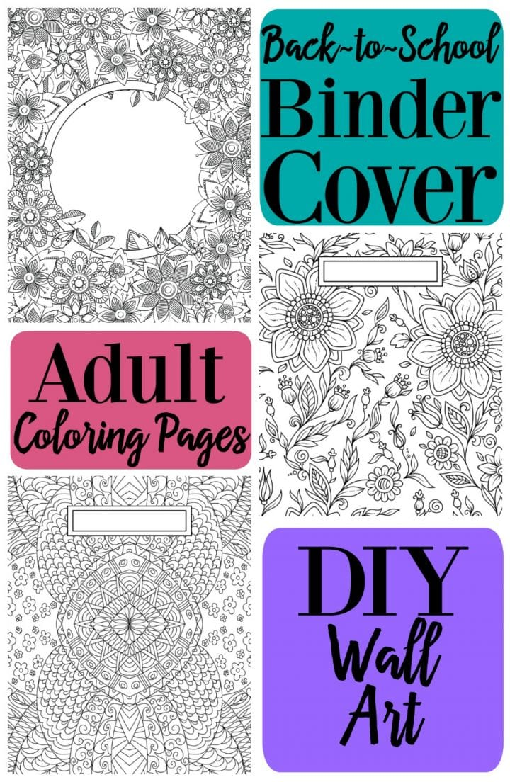 Collage of adult coloring pages to be used as binder covers.