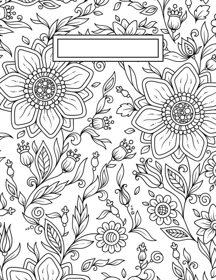 Floral motif adult coloring pages.