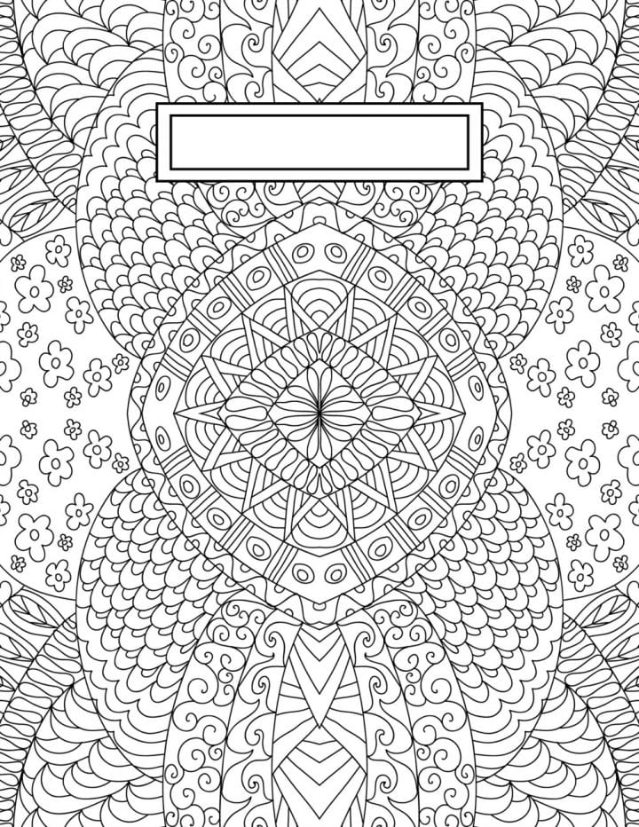 A complex line designs with flowers for adult coloring.