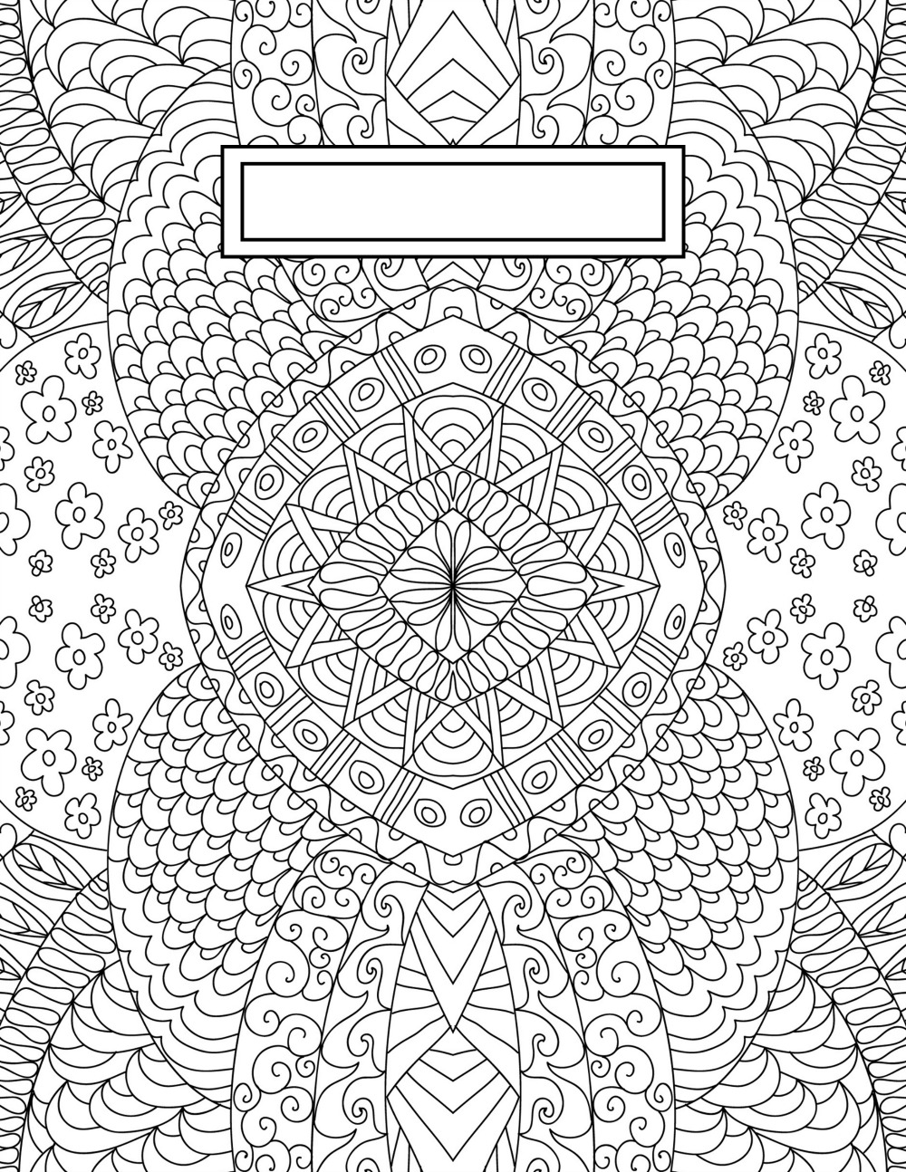 Book Cover Pattern Template : Back to school binder cover adult coloring pages