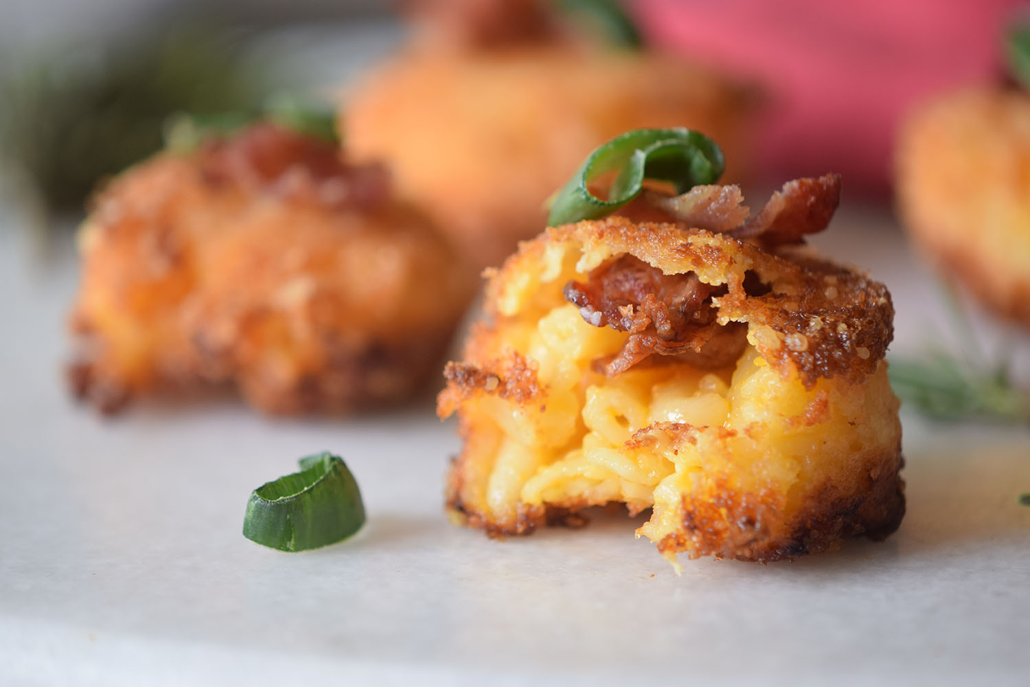 Mac and cheese fried up crispy with bacon