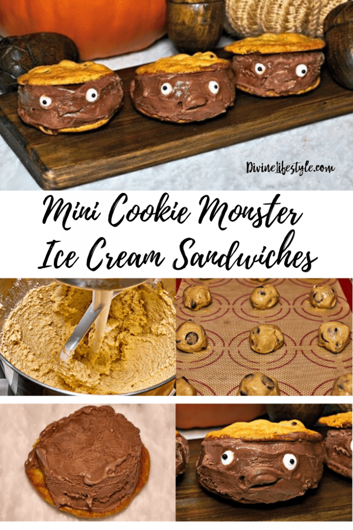 Monster Chocolate Chip Cookie Mini Ice Cream Sandwich