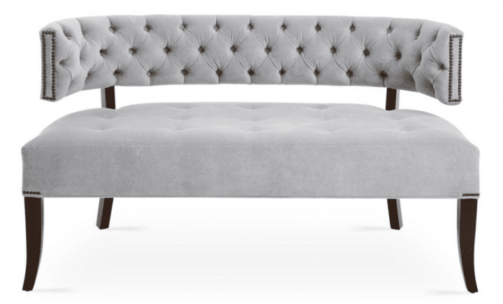 Velvet Furniture and Decor for the Home Settee in Light Gray Velvet