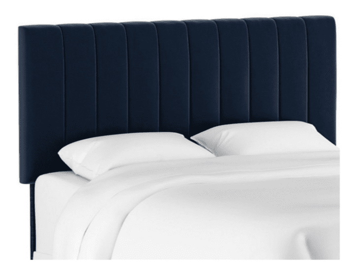 Velvet Furniture and Decor for the Home Delmar Channel Headboard, Navy Velvet