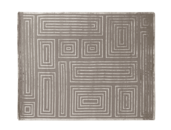 Velvet Furniture and Decor for the Home Exquisite Rugs Velvet Maze Block Rug in Silver