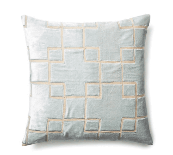 Velvet Furniture and Decor for the Home FILLING SPACES Block 20x20 Velvet Pillow, Seafoam