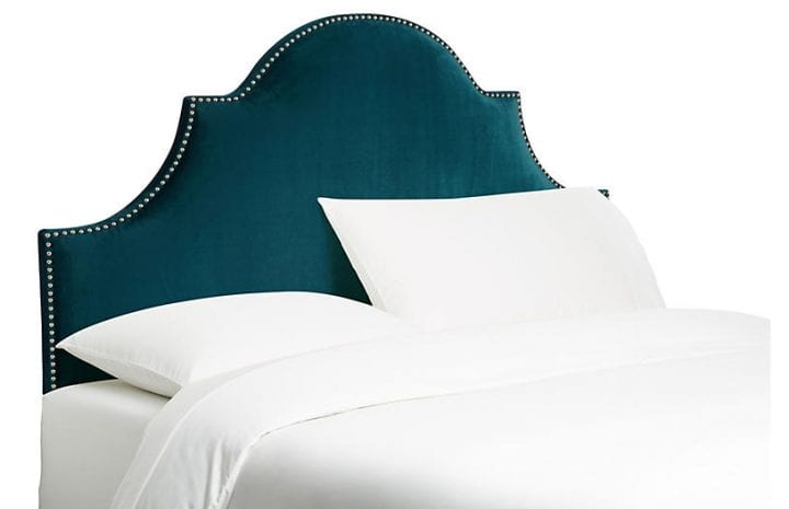 Velvet Furniture and Decor for the Home Hedren Headboard in Deep Teal Velvet