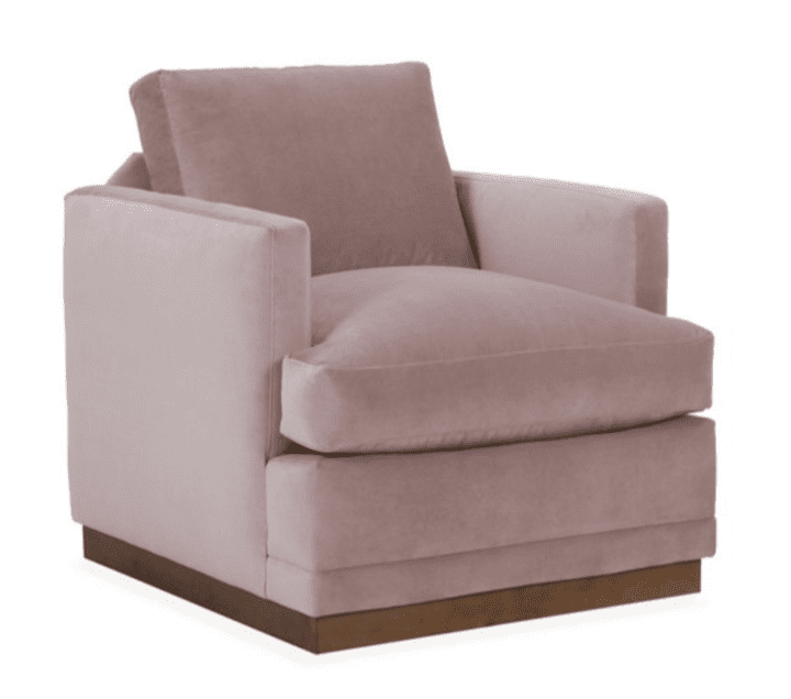 Velvet Furniture and Decor for the Home Shaw Swivel Club Chair in Mauve Velvet