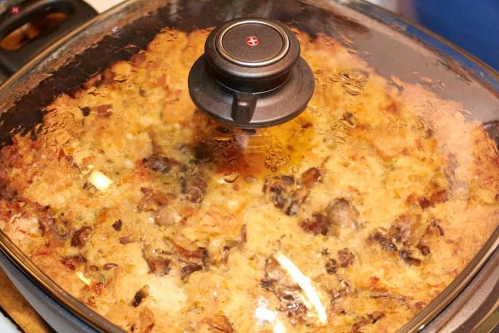 Mushroom Bread Pudding Recipe #Makemealsbetter Swiss Diamond Pan Better Than Buillon