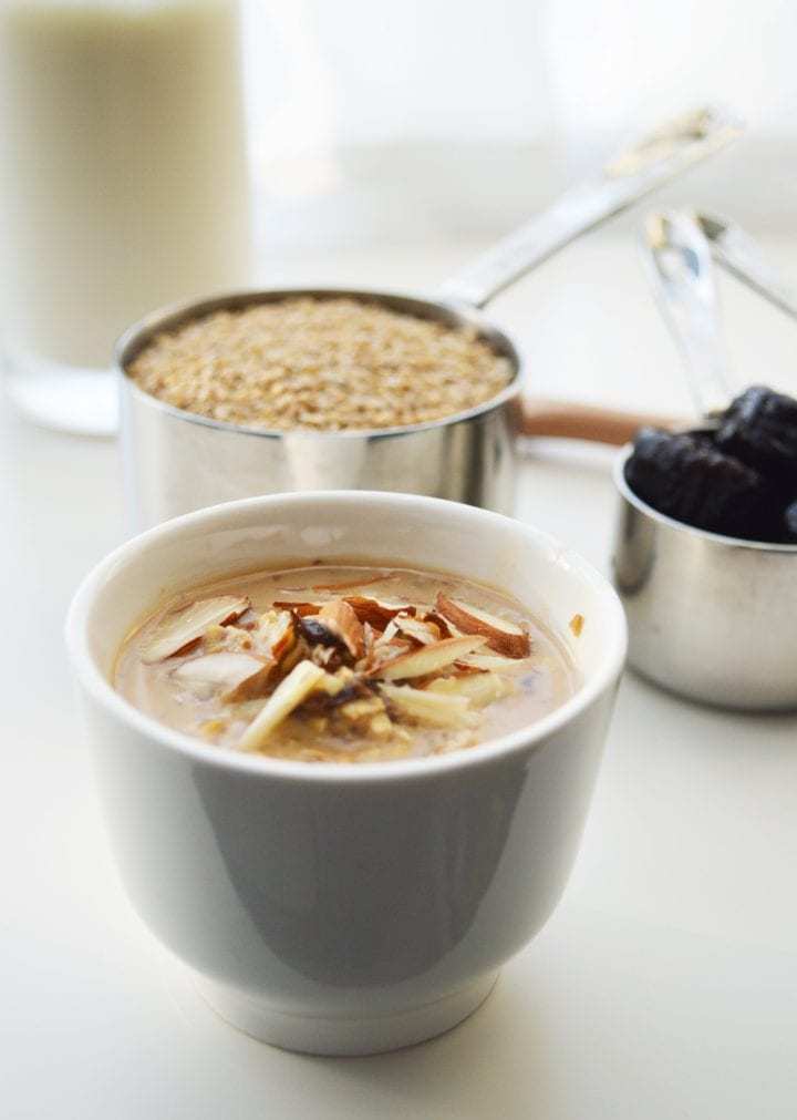 Overnight Steel Cut Oats with Almonds and Fruit Breakfast Recipe