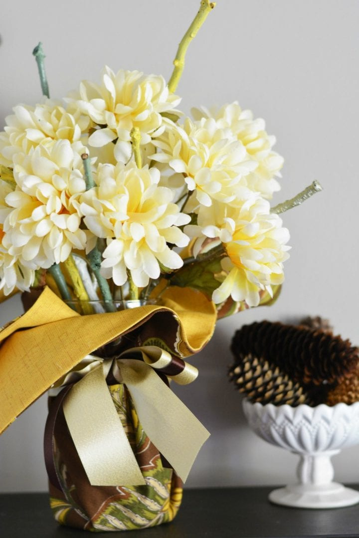 DIY Floral and Fabric Thanksgiving Centerpiece