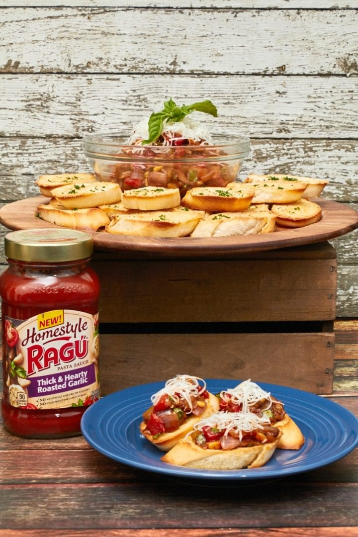 Game Day for the Gourmet: Eggplant Bruschetta Recipe #RaguTailgating