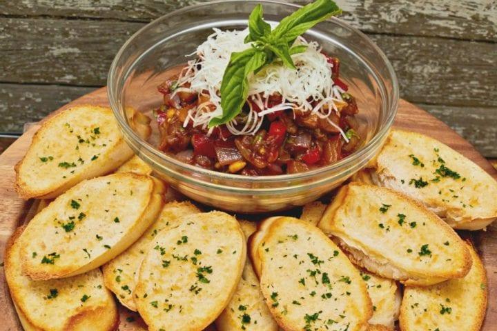 Game Day for the Gourmet: Eggplant Bruschetta Recipe #RaguTailgating