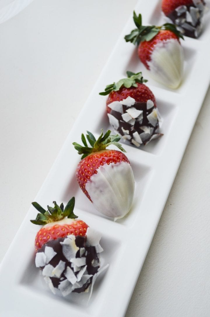 Dark Chocolate Dipped Strawberries with Raw Flake Coconut
