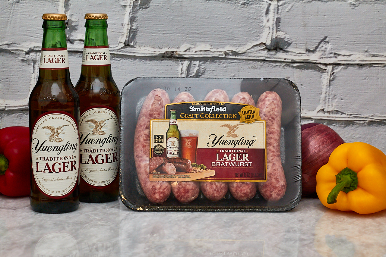 Grilled Smithfield Craft Collection's Yuengling Bratwurst with Roasted Veggies